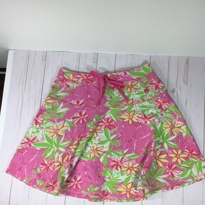 Lilly Pulitzer Pink & Green Skater Skirt XS